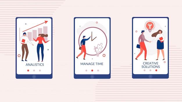Applicazione mobile piatta impostata per l'avvio dell'attività