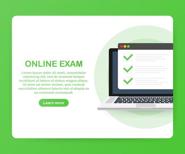 Applicazione web per computer esame online. computer portatile isometrico con stampa di documenti cartacei da schermo e telefono. elenco di controllo per test o opinioni online.