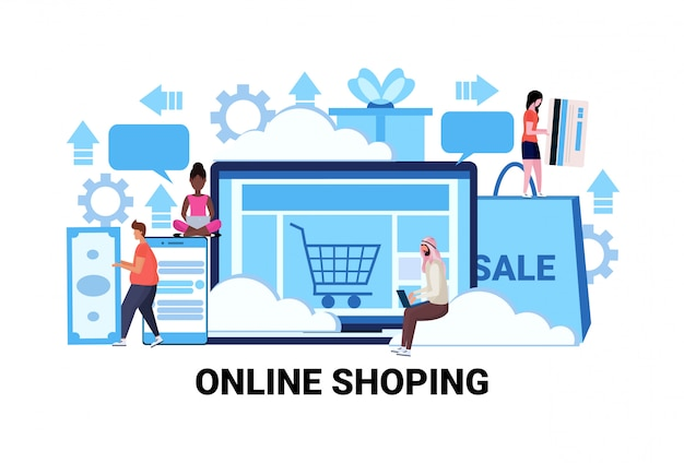 Applicazioni informatiche shopping online concetto stagione vendite e-commerce