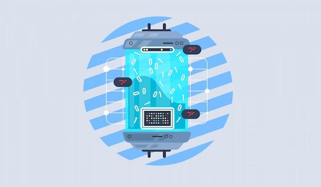 Apprendimento automatico, algoritmo, illustrazione piatta intelligenza artificiale