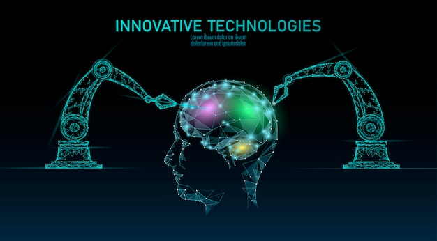 Apprendimento automatico del cervello android robot basso poli. tecnologia di innovazione intelligenza artificiale cyborg umano dati intelligenti. il pericolo digitale di realtà virtuale che avverte il concetto poligonale della tecnologia di affari.