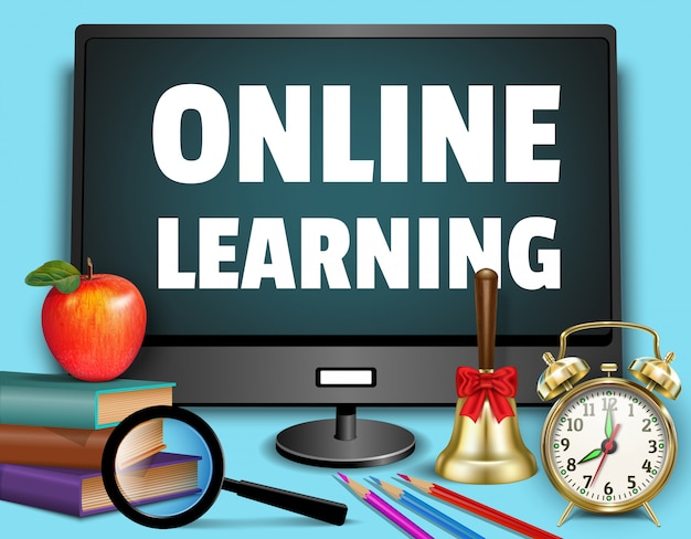 Apprendimento in linea - banner web di ritorno a scuola. monitor, libri, sveglia, lente d'ingrandimento, campanello, mela, materiale scolastico.