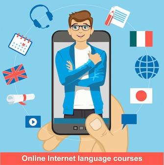 Apprendimento online delle lingue straniere. smartphone nel palmo dell'uomo con un insegnante su di esso. scuola di lingue straniere. metodi di studio moderni.