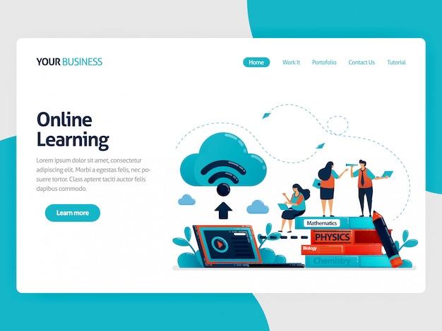 Apprendimento online o e-learning con database internet cloud. conservare i compiti e il libro di testo sulla pagina di destinazione dei laptop