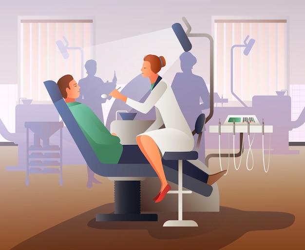 Appuntamento al dentista flat composition