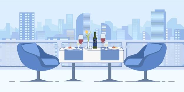 Appuntamento romantico al ristorante roof cityscape view