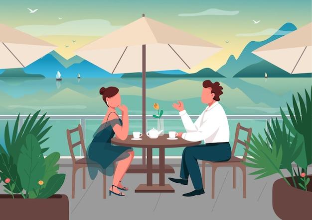 Appuntamento romantico in località balneare illustrazione di colore piatto