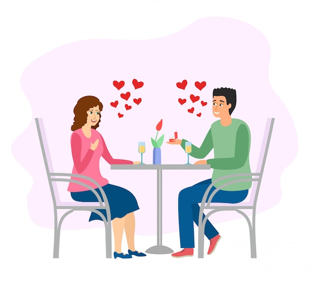 Appuntamento romantico. uomo e donna a cena al tavolo del caffè. illustrazione. serata di appuntamenti al ristorante.
