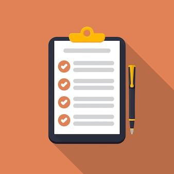 Appunti con lista di controllo e icona penna con lunga ombra