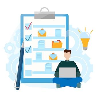 Appunti di lista di controllo. cartella con documento. completamento riuscito di attività commerciali.
