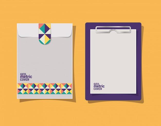 Appunti e busta con copertina geometrica