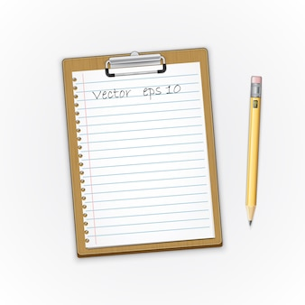 Appunti marrone dettagliata con carta e pensil