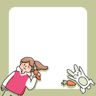 Appunti ragazza carina e coniglio con disegni di carote per elencare le note quotidiane