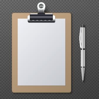 Appunti realistici con foglio di carta bianca e penna. blocco note della lavagna per appunti di affari di vettore e documento del documento cartaceo con l'illustrazione della penna