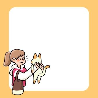 Appunti simpatici disegni di ragazza e gatto per elencare le note quotidiane