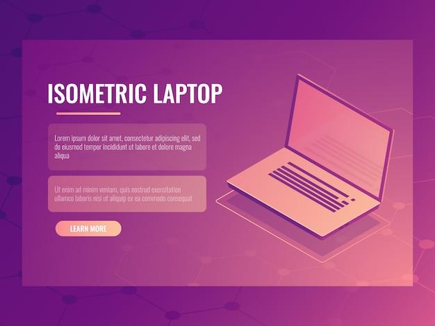 Apra il computer portatile isometrico, bandiera della tecnologia digitale del computer, fondo astratto