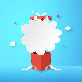 Apra il contenitore di regalo con il fondo di vendita di santo stefano e della nuvola.