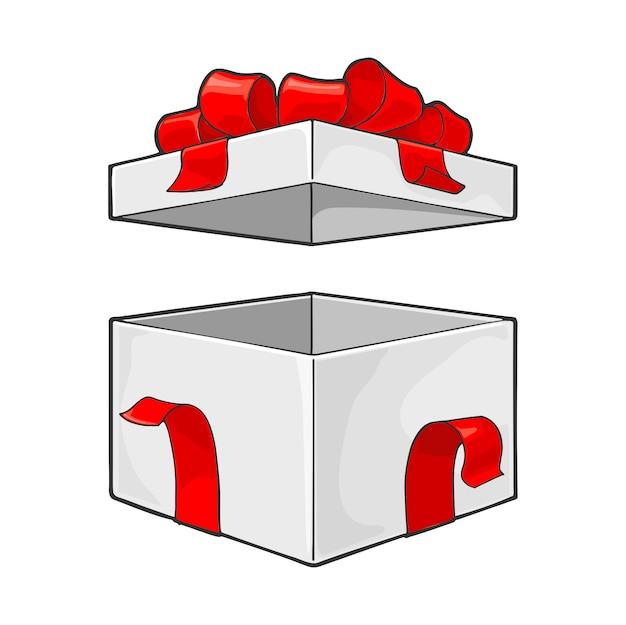 Apra il contenitore di regalo con l'illustrazione dell'arco e del nastro