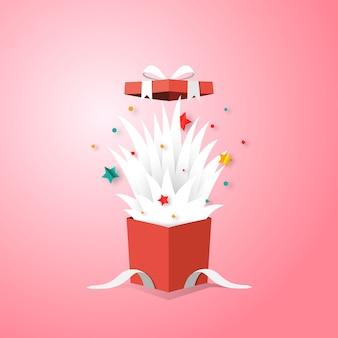 Apra il contenitore di regalo e il fondo di vendita di santo stefano.