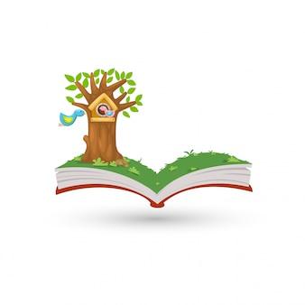 Apra il libro nel vettore della casa dell'uccello