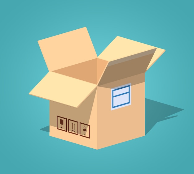 Apra la scatola di cartone isometrica lowpoly vuota 3d
