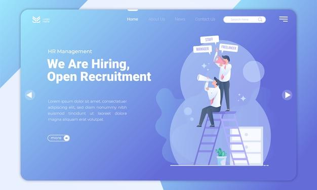 Apri il modello della pagina di destinazione del reclutamento
