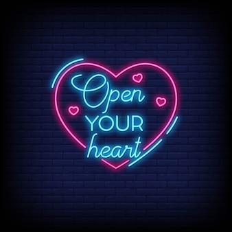 Apri il tuo cuore per poster in stile neon. citazioni romantiche e parola in stile insegna al neon.