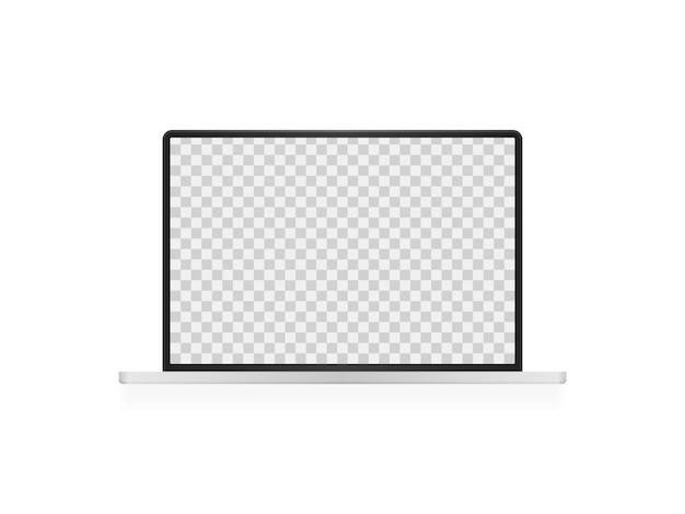 Apri laptop con schermo vuoto. mockup realistico per laptop. vista frontale dello schermo del computer.