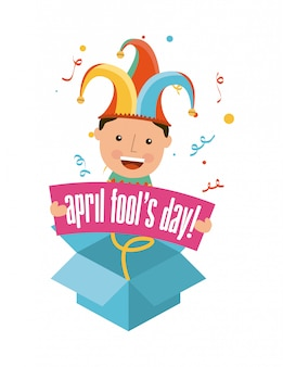 April fools day over white background illustrazione vettoriale