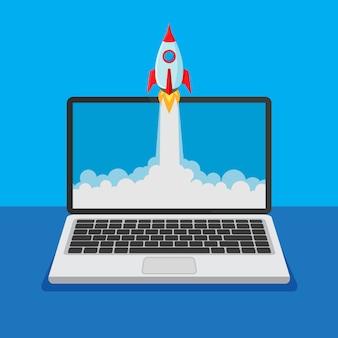 Aprire il laptop con il lancio di un razzo su un display. concetto di prodotto aziendale. il razzo va oltre il monitor. avvio del progetto e prodotto innovativo. illustrazione.