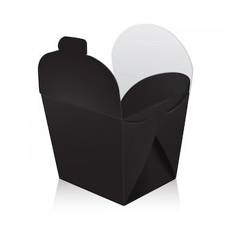 Aprire la scatola wok vuota nera. la scatola di cartone porta via il sacchetto di carta per alimenti.