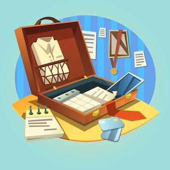 Aprire la valigetta di affari con tuta da uomo d'affari retrò dei cartoni animati e oggetti di lavoro