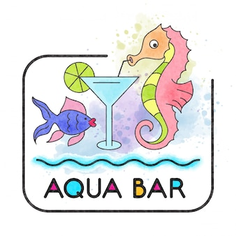 Aqua bar. bandiera dell'acquerello con cavalluccio marino
