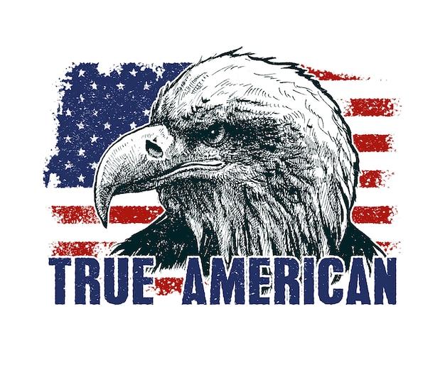 Aquila americana contro la bandiera degli stati uniti