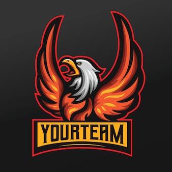 Aquila che sbatte le ali mascotte sport illustrazione per logo esport gaming team squad