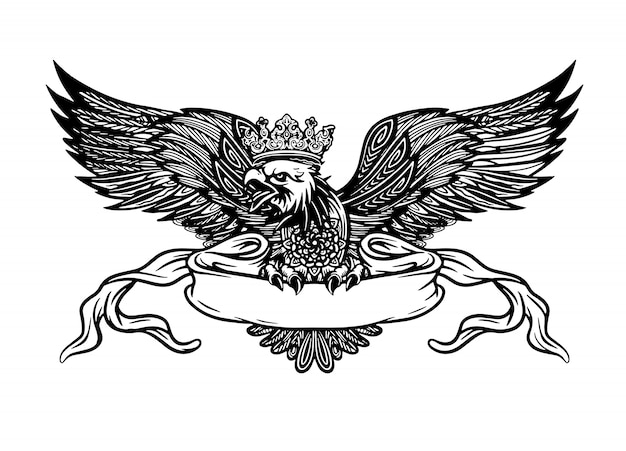 Aquila disegnata a mano con nastro per il testo