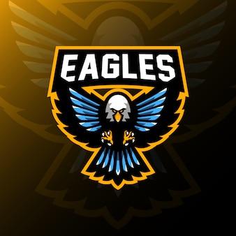 Aquila mascotte logo gaming esport illustrazione