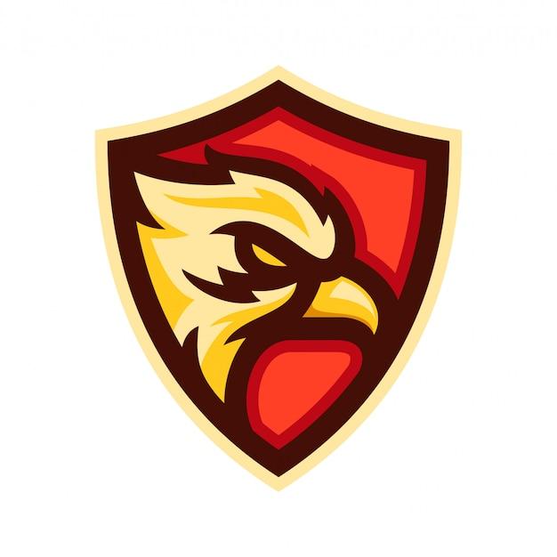 Aquila testa logo distintivo modello illustrazione vettoriale