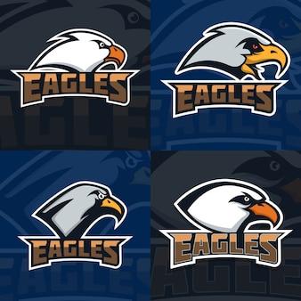 Aquile. set di modello emblema con testa d'aquila. mascotte della squadra di sport. illustrazione
