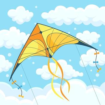 Aquilone colorato volante nel cielo con nuvole sullo sfondo. festival estivo, vacanza, tempo di vacanza. kitesurf. illustrazione.