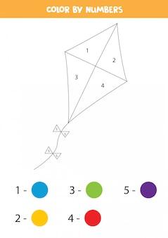 Aquilone di colore dai numeri. pagina da colorare per bambini.