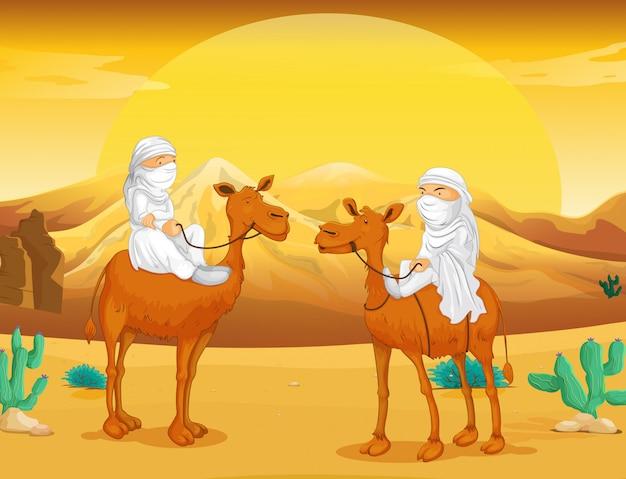 Arabi che cavalcano cammelli nel deserto