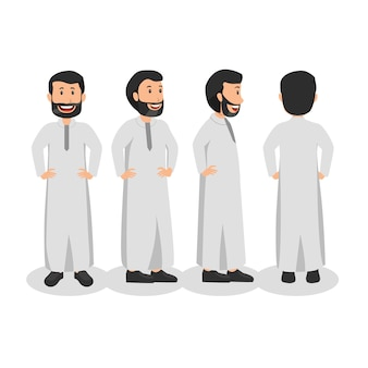Arabian man turn around character design