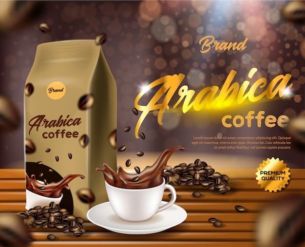 Arabica coffee banner, sacchetto di carta bustina bustina