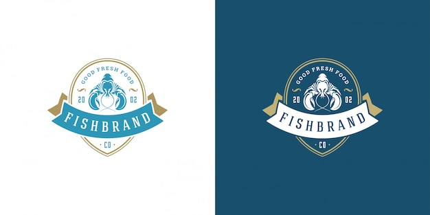 Aragosta di progettazione del modello dell'emblema del mercato ittico dell'illustrazione di vettore del logo o del segno dei frutti di mare
