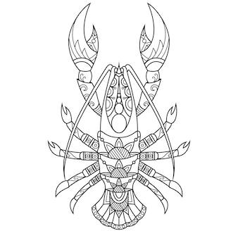 Aragosta disegnata in stile doodle