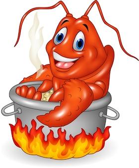 Aragosta divertente del fumetto che è cucinata in una vaschetta
