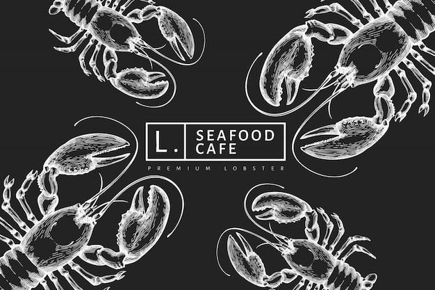 Aragosta, illustrazione disegnata a mano dei frutti di mare sul bordo di gesso. stile inciso. sfondo di animali marini vintage