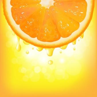 Arancia con sfondo di succo