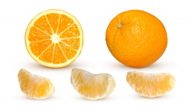 Arancia realistica isolata. frutta fresca all'arancia